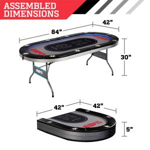 ESPN 10 Player Premium Foldable Poker Table, In-Laid LED Lights, Gray