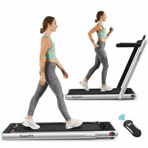 2-in-1 Folding Treadmill with Speaker LED Display