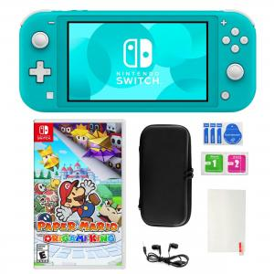 Nintendo Switch Lite in Turquoise with Paper Mario and Accessories