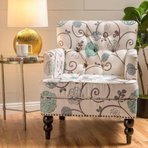 Noble House Hanley Floral Fabric Tufted Club Accent Chair