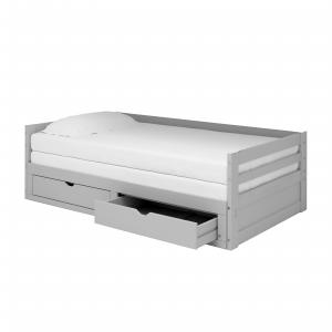 Jasper Twin to King Extending Day Bed with Storage Drawers, Dove Gray