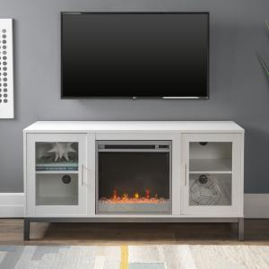 Manor Park Modern Fireplace TV Stand for TVs up to 58″, White