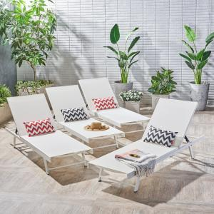 Castiel Outdoor Aluminum and Mesh Chaise Lounges, Set of 4, White