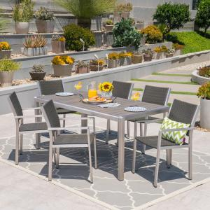 Gannon Outdoor 7 Piece Aluminum and Wicker Dining Set with Faux Wood Table Top, Gray