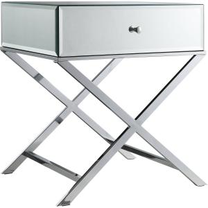 Chelsea Lane Mirror End Table with Drawer, Chrome