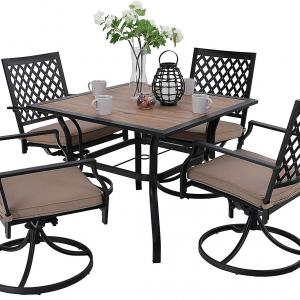 MF Studio Metal Patio Dining Sets Club Bistro Bar Sets Swivel Dining Rocker Chair, Thick Cushions and Larger Square Table Furniture Set, Steel Frame, Set of 5