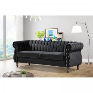 Capri Velvet Chesterfield 60.4″ Rolled Arms Sofa