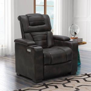 Devon & Claire Goslin Power Theater Recliner, Dark Brown