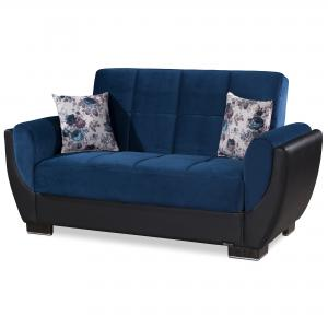 Armada Air Fabric Upholstery Convertible Love Seat with Storage