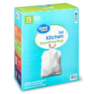 Great Value Tall Kitchen Trash Bags, 13 gallon, 80 Count