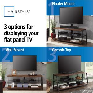 Mainstays Arris 3-in-1 TV Stand for Televisions up to 70″, Perfect for Flat Screens, Canyon Walnut Finish