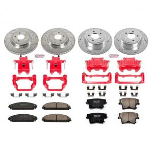 Power Stop Front and Rear Z23 Evolution Brake Pad and Rotor Kit with Red Powder Coated Calipers KC2853