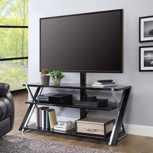 Whalen Xavier 3-in-1 TV Stand for TVs up to 70″, with 3 Display Options for Flat Screens, Black with Silver Accents