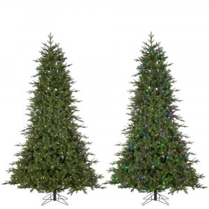 Gerson 7.5Ft. Remote Enabled Natural Cut Coastal Pine with 504 RGB Color Changing Lights and Power Pole Technology