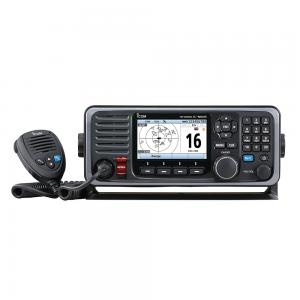 12″ Jet Black M605 Fixed Mount 25W VHF with Color Display, AIS, and Rear Mic Connector