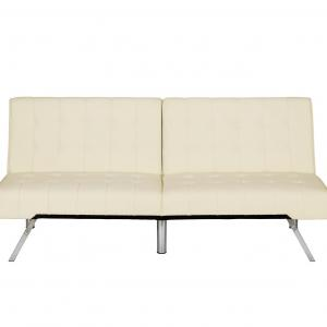 DHP Emily Sectional Futon Sofa Bed with Convertible Chaise Lounger, Modern Design with Sturdy Chrome Legs, Vanilla Faux Leather