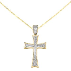 Primal Gold 14 Karat Yellow Gold Micro Pave Cubic Zirconia Large Cross Pendant with 18 Inch Cable Rope Chain