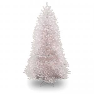 National Tree Dunhill White Fir Tree with Clear Lights-Color:White,Size:9 Ft