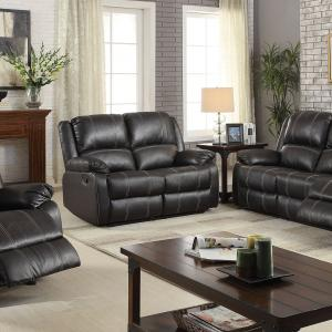 ACME Zuriel Reclining Sofa in Black Faux Leather Upholstery