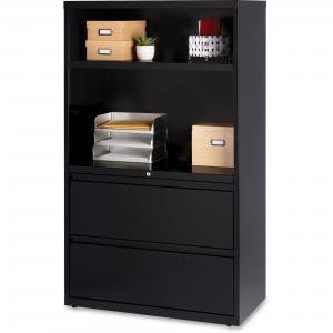 Hirsh 36-in Wide HL8000 Series 2 Drawer Lateral Combo File Cabinet, Black