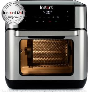 Instant Vortex Plus 10QT 7-in-1 Digital Air Fryer Oven, with Rotisserie Spit, Drip Pan, and 2 Cooking Trays, 1500W (Black/Steel)