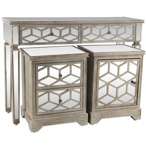 Decmode Rustic Wood, Glass and Metal Drawer Console and Cabinet Set, 3-Piece