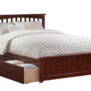 Mission Queen Platform Bed with Matching Foot Board with 2 Urban Bed Drawers, Multiple Colors