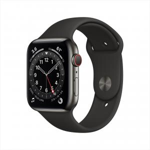 Apple Watch Series 6 GPS + Cellular, 44mm Graphite Stainless Steel Case with Black Sport Band – Regular