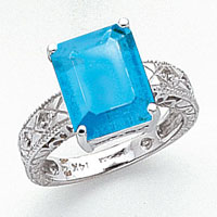 Primal Gold 14 Karat White Gold 12x10mm Emerald Cut Blue Topaz and Diamond Ring