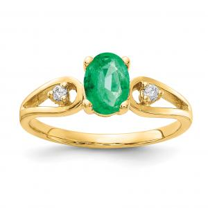 Primal Gold 14 Karat Yellow Gold 7x5mm Oval Emerald and Diamond Ring