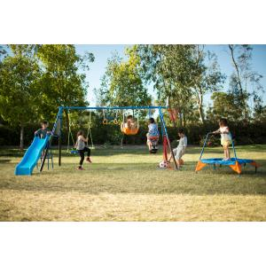 FITNESS REALITY KIDS 'The Ultimate' 8 Station Sports Series Metal Swing Set with Basketball and Soccer