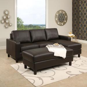 Devon & Claire Hamilton Brown Leather Reversible Sectional and Ottoman