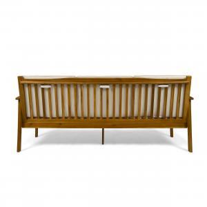 Brendon Outdoor Acacia Wood Sofa with Cushions, Teak, Cream