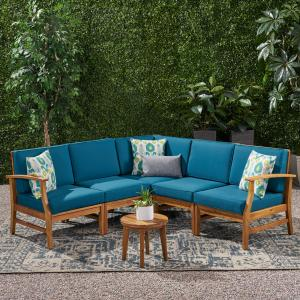 Hermosa Outdoor 5 Piece Chat Set with Cushions (No Coffee Table), Blue, Teak Finish