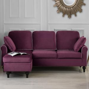 Classic and Traditional Small Space Velvet Sectional Sofa with Reversible Chaise (Purple)