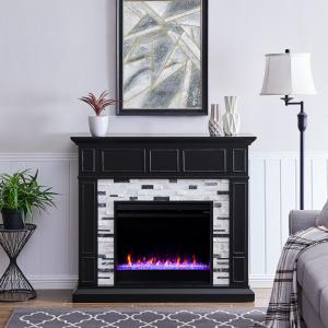 Frescan Marble Color Changing Fireplace by Ember Interiors