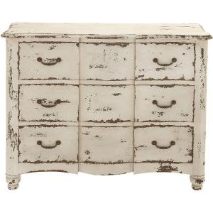 DecMode 42″ x 35″ Large Vintage Distressed Beige Wood Chest of Drawers