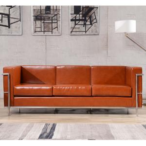 Flash Furniture HERCULES Regal Series Contemporary Cognac LeatherSoft Sofa with Encasing Frame