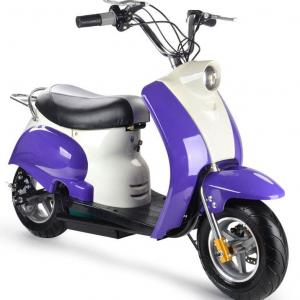 MototTec 24v Kids Electric Powered Moped Scooter, Purple