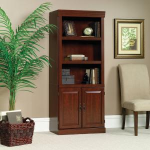 Sauder 71″ Heritage Hill Library Bookcase With Doors, Classic Cherry Finish