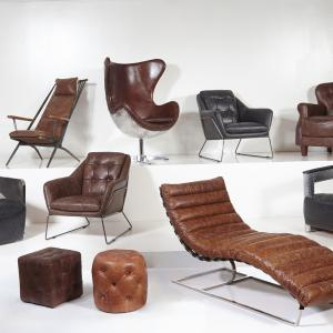 Riveted Leather Aviation Arm Chair in Charcoal Black