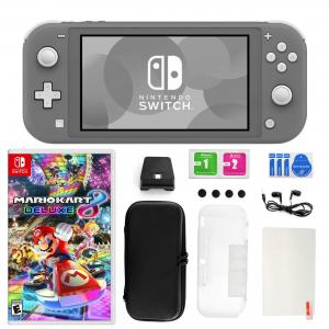 Nintendo Switch Lite in Gray with Mario Kart 8 Deluxe and 11 in 1 Accessories Kit