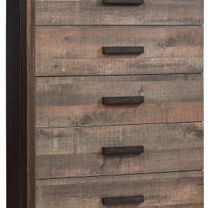 Barold 5-drawer Chest Weathered Oak and Rustic Coffee