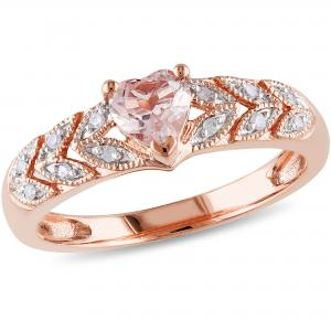Tangelo Women's 1/2 Carat T.G.W. Morganite and Diamond-Accent 10kt Rose Gold Heart Ring