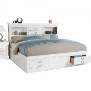 Acme Louis Philippe III Queen Bed with Storage, White