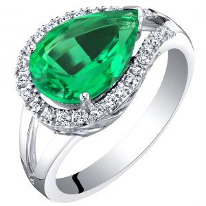 3.02 ct Pear Shape Green Created Emerald Halo Ring with Lab Grown Diamonds in 14K White Gold