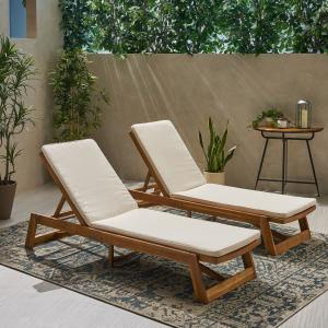 Cullen Outdoor Acacia Wood Chaise Lounge and Cushion Sets, Set of 2, Teak and Cream