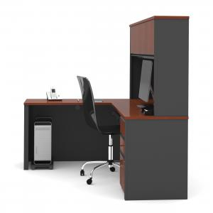Bestar Prestige L-Shaped Workstation with Hutch and Single Pedestal – Bordeaux and Graphite