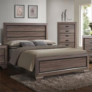 ACME Lyndon Queen Wooden Panel Bed in Weathered Gray Grain, Multiple Sizes