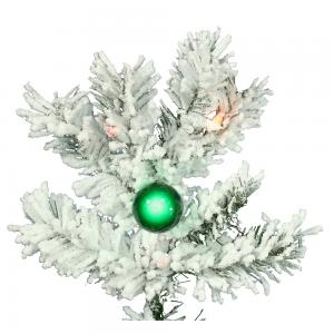 Vickerman 9′ Flocked Alaskan Pine Artificial Christmas Tree with 900 Multi-Colored Lights and 50 G50 Multi-Colored Lights